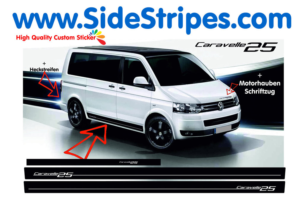 VW Bus T4 T5 Caravelle 25 Edition side stripe sticker decal complete set - N° 7000