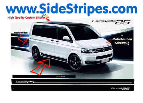 VW Bus T4 T5 Caravelle 25 Edition - adesivi laterali adesive auto sticker - N° 7000