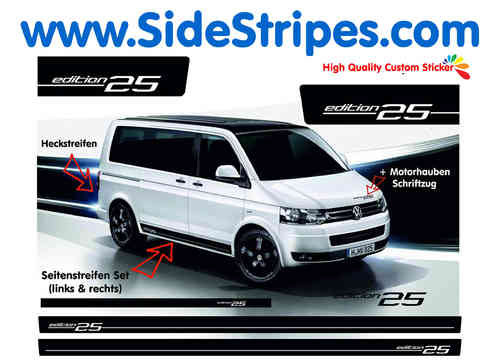VW Bus T4 T5 Edition 25  side stripe sticker decal complete set - N° 5122