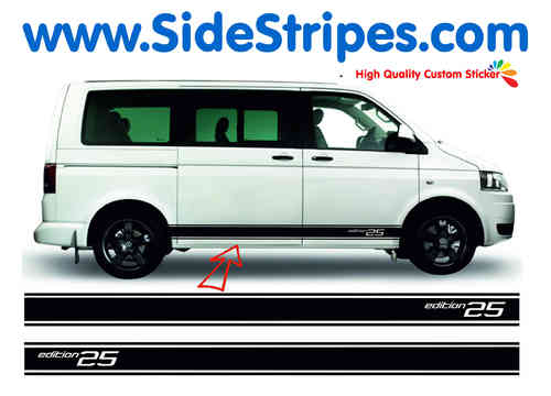 VW Bus T4 T5 Edition 25 version n°2  side stripe sticker decal complete set - N° 5130