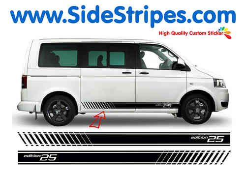 VW Bus T4 T5 Edition 25 Evo side stripe sticker decal complete set - N° 3131
