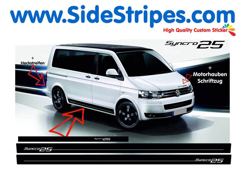 VW Bus T4 T5 Syncro 25 Edition - Side Stripes Graphics Decals Sticker Kit - N° 7003