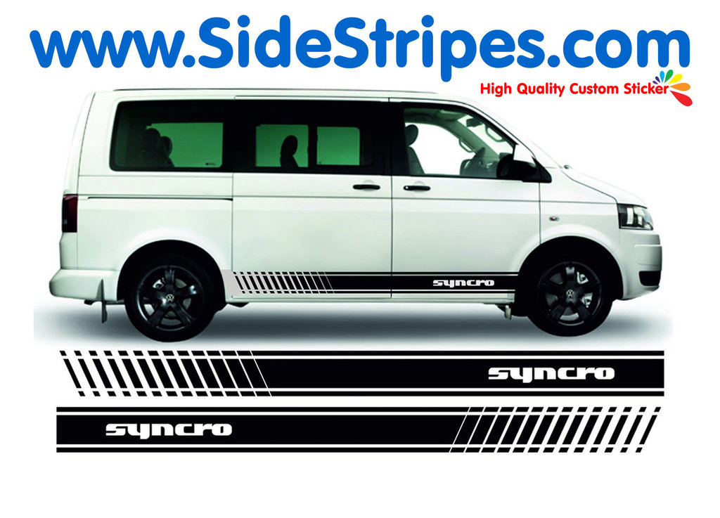 VW Bus T4 T5 SYNCRO EVO - Side Stripes Graphics Decals Sticker Kit - N° 9120