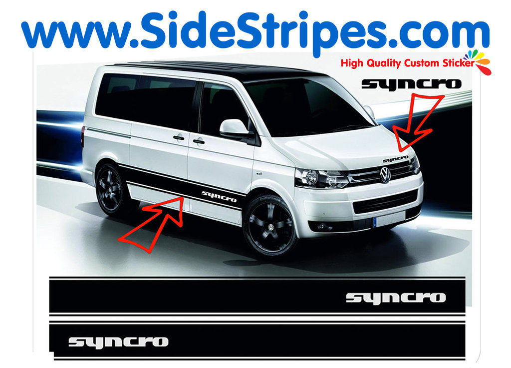 VW Bus T4 T5 Syncro - Side Stripes Graphics Decals Sticker Kit - N° 5034
