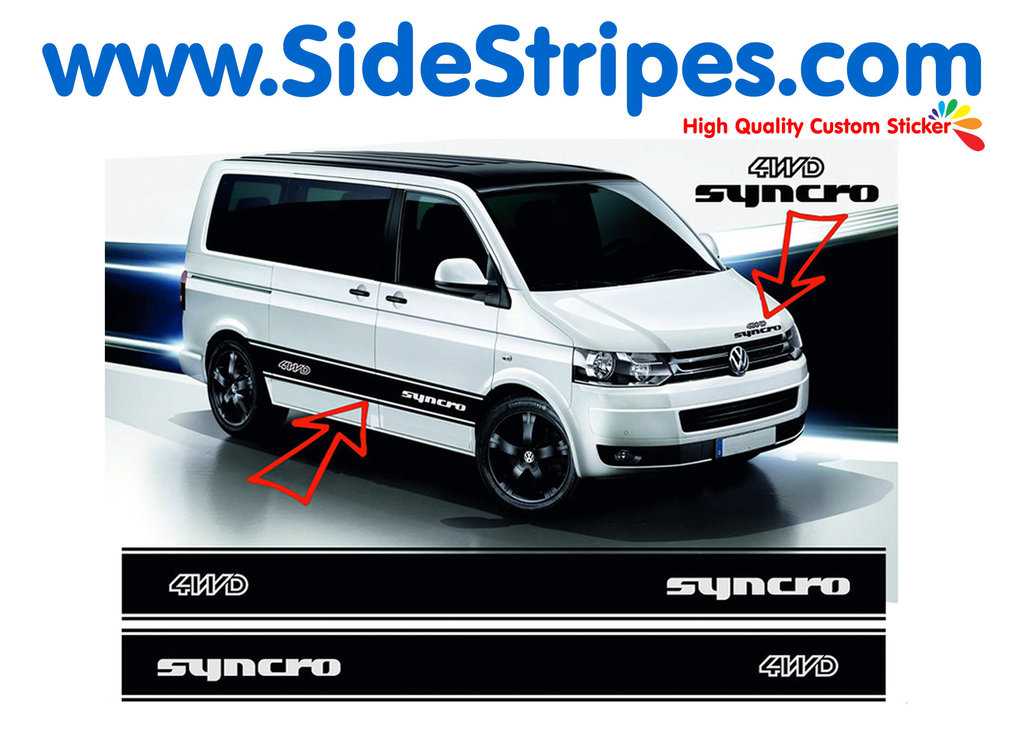 VW Bus T4 T5 Syncro 4WD - Side Stripes Graphics Decals Sticker Kit - N° 5033