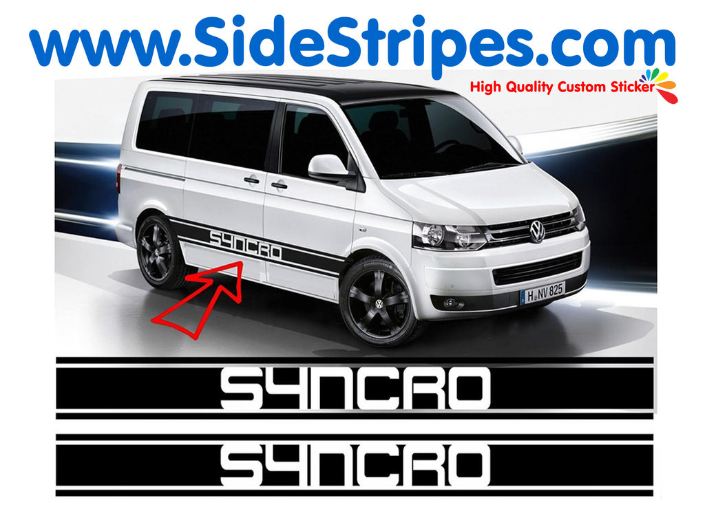 VW Bus T4 T5 Syncro XL - Side Stripes Graphics Decals Sticker Kit - N° 5207