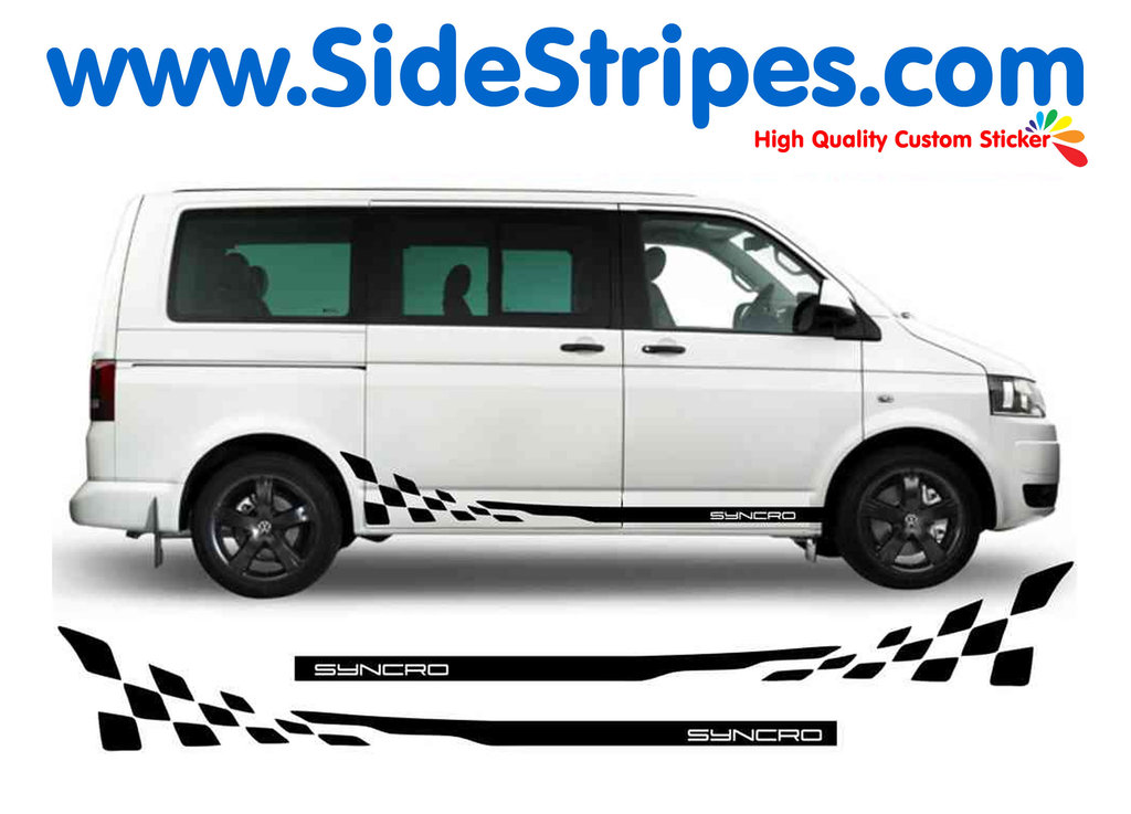 VW Bus T4 T5 SYNCRO Checker - with Porsche Font - Side Stripes Graphics Decals Sticker Kit - N° 5219