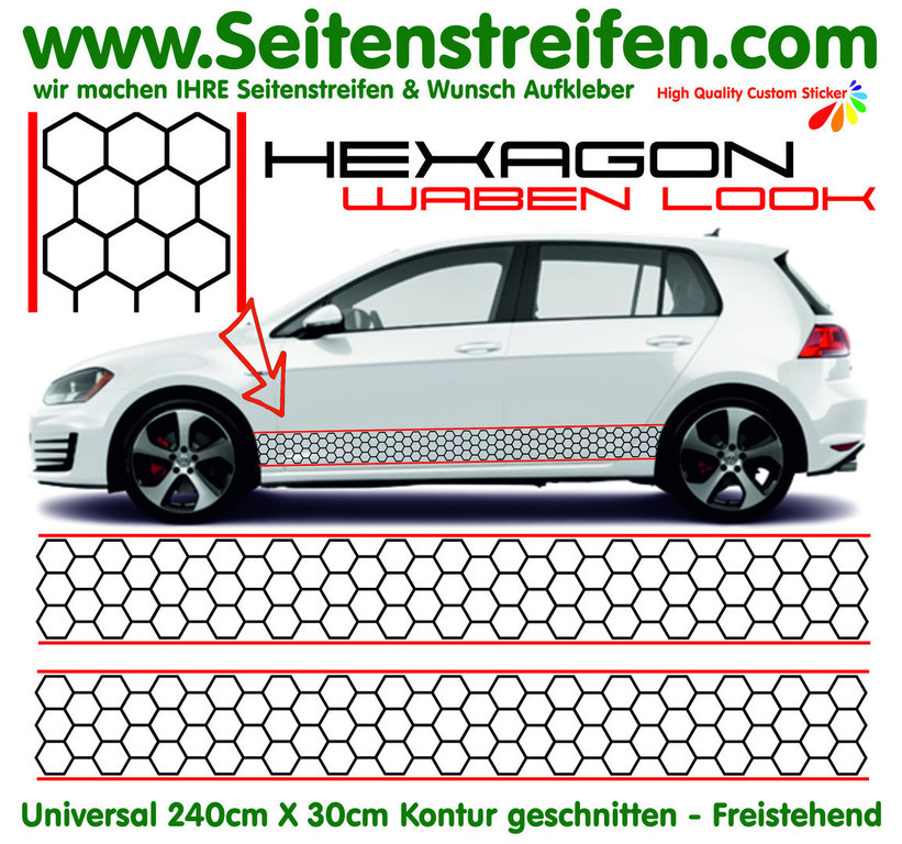 VW GOLF GTI - HEXAGON Favo - adesivi laterali adesive auto sticker - N° 4443