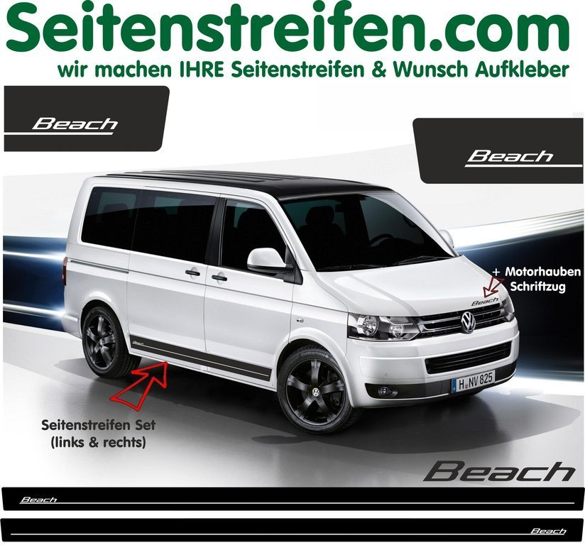 VW Bus T4 T5 Beach - adesivi laterali adesive auto sticker - N° 5106