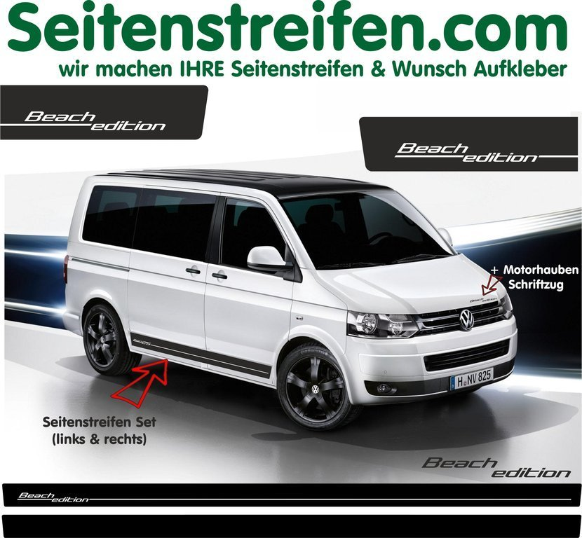VW Bus T4 T5 Beach Edition - adesivi laterali adesive auto sticker - N° 5108