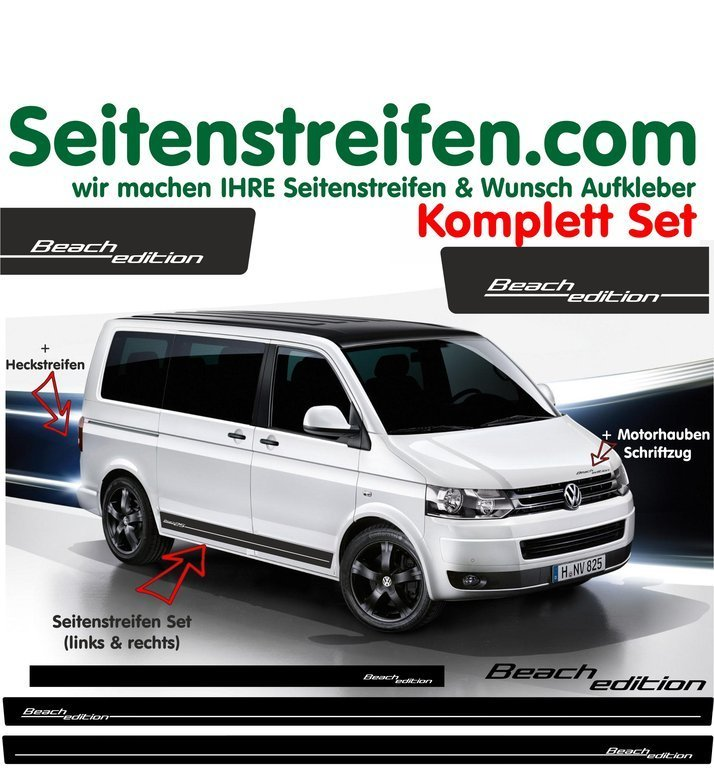 VW Bus T4 T5 Beach Edition bande latérale autocollant  ensemble complet - N° 5109