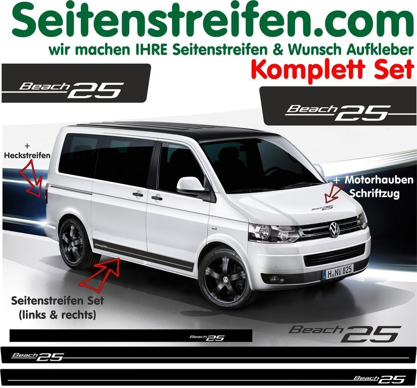 VW Bus T4 T5 Beach Edition 25 bande latérale autocollant  ensemble complet - N° 5110