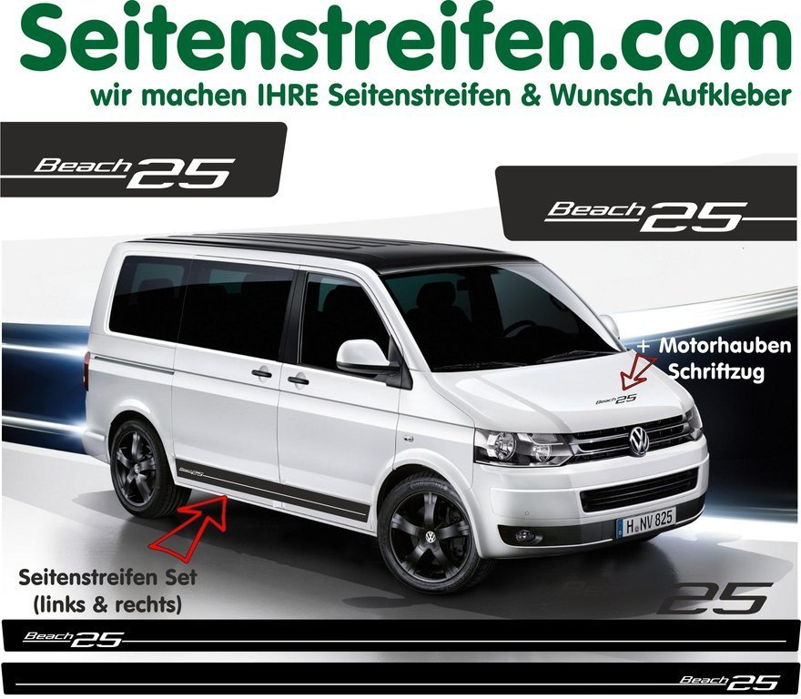 VW Bus T4 T5 Beach Edition 25 bande latérale autocollant  ensemble complet - N° 5111