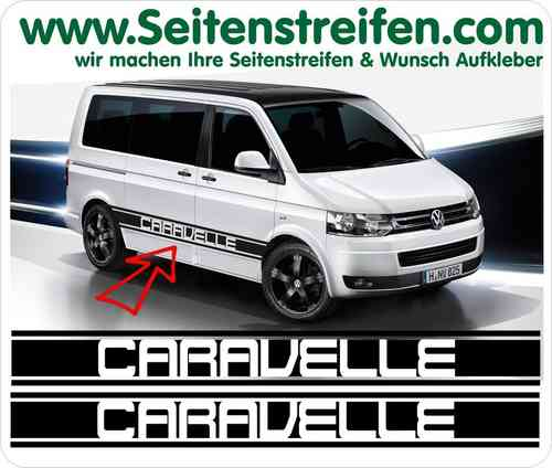VW Bus T5 Caravelle XL - adesivi laterali adesive auto sticker - N° 5218