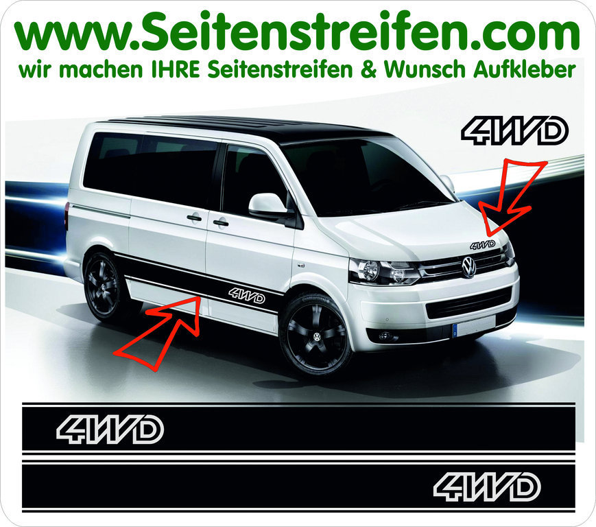 VW Bus T4 T5 Syncro 4WD - Side Stripes Graphics Decals Sticker Kit - N° 5032