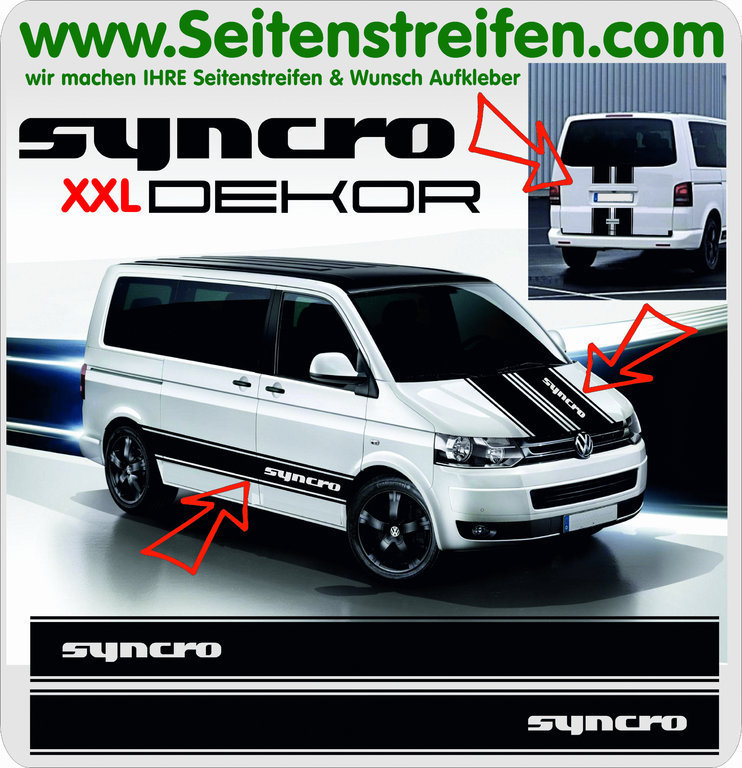 SYNCRO XXL - Version N°2 - for VW Bus T4 T5 - Side Stripes Graphics Decals Sticker Kit - N° 5022