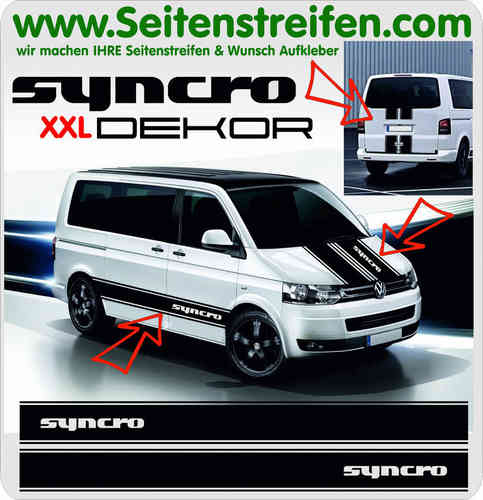 SYNCRO XXL Aufkleber Dekor Sticker Komplett Set für VW Bus T4 T5 Version N°2 - Art.Nr.: 5022