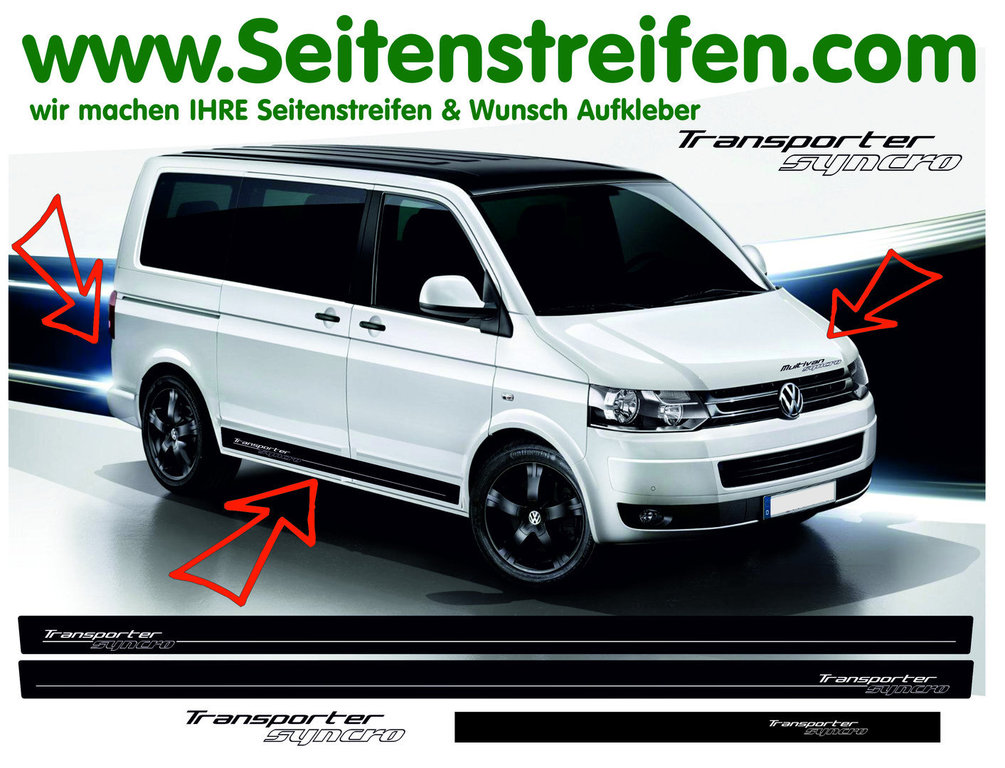 VW Bus T4 T5 Transporter Syncro - Side Stripes Graphics Decals Sticker Kit - N° 9014