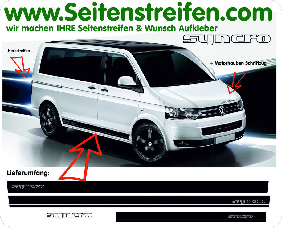 VW Bus T4 T5 Syncro - Side Stripes Graphics Decals Sticker Kit - N° 9721