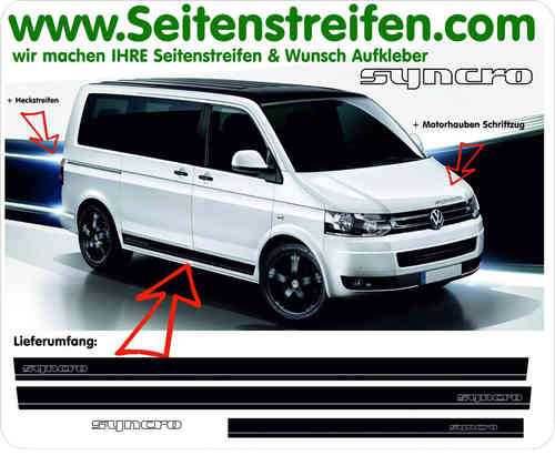 VW Bus T4 T5 SYNCRO Syncro set completo de pegatinas laterales - N° 9721