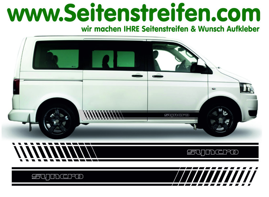 VW Bus T4 T5 SYNCRO Outline EVO - Version N°1 - Side Stripes Graphics Decals Sticker Kit - N° 9121