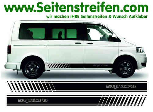 VW Bus T4 T5 SYNCRO Outline Evo decalsats, bildekaler set  Version N°1 - N° 9121