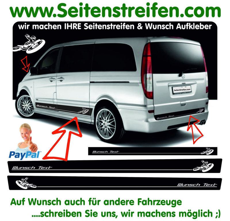 Mercedes Benz Vito & Viano Désirent Texte Enduro Motocross - Autocollant Ensemble Complet - N° 7678