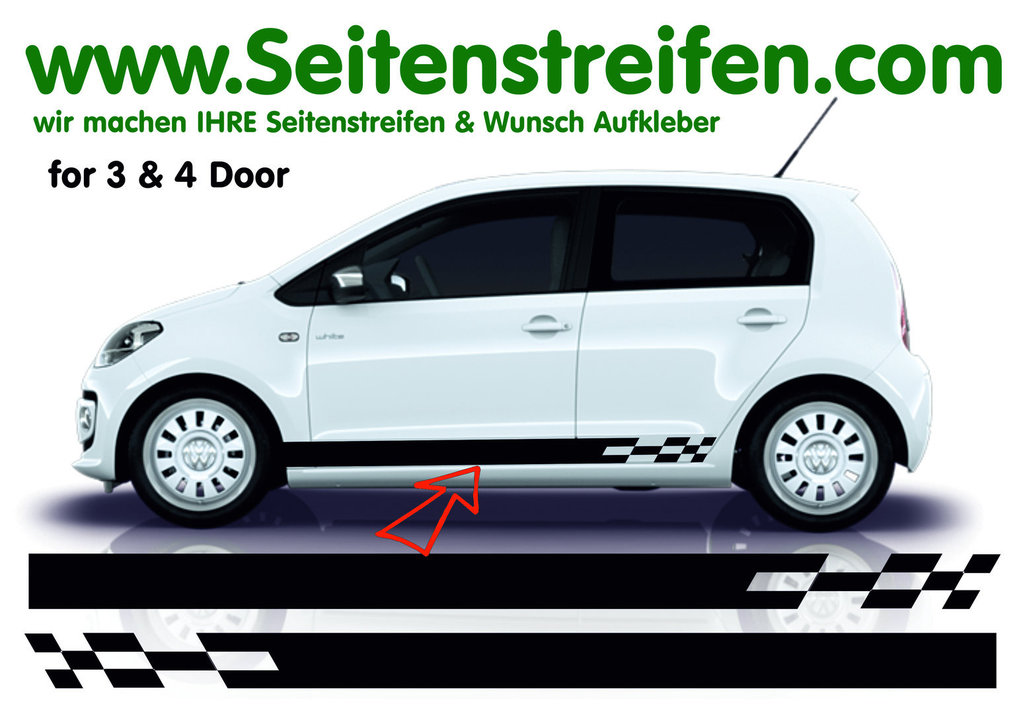 VW Up Checker N°2 - Side Stripes Graphics Decals Sticker Kit - Fits 4 & 5 Doors - N° 7526
