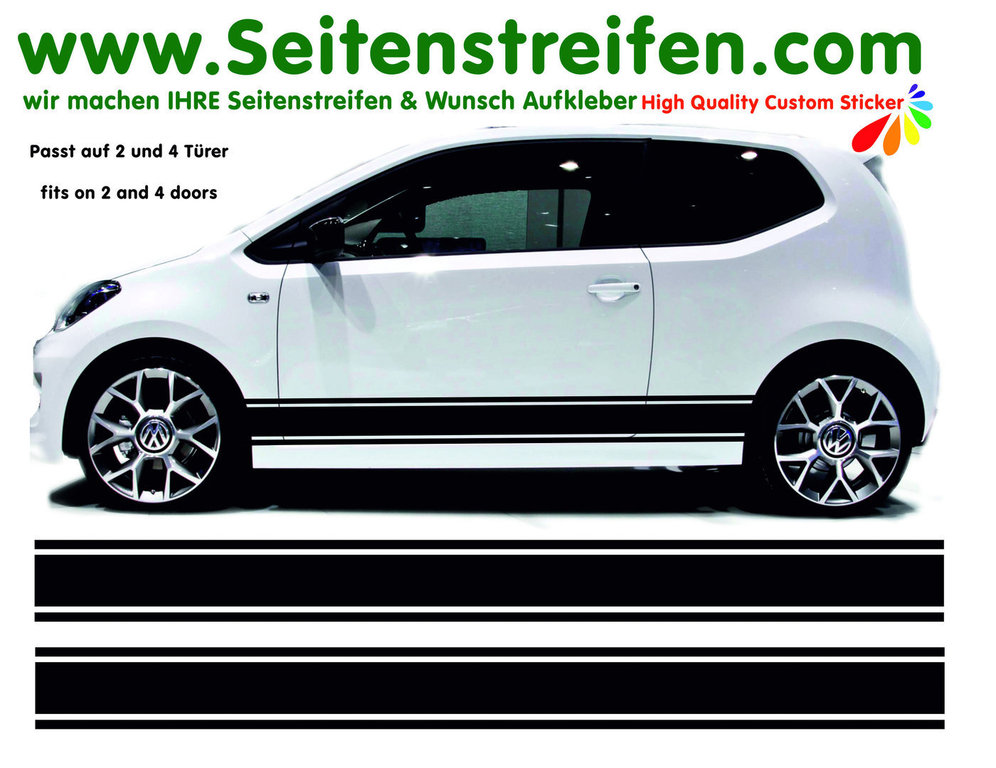 VW Up - Side Stripes Graphics Decals Sticker Kit - Fits 4 & 5 Doors - N° 6526