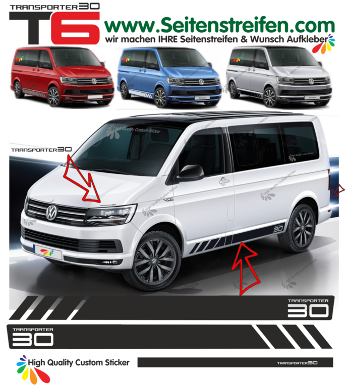 VW T6 Transporter 30 Edition - side stripe sticker decal  complete set edition look - N° 9685
