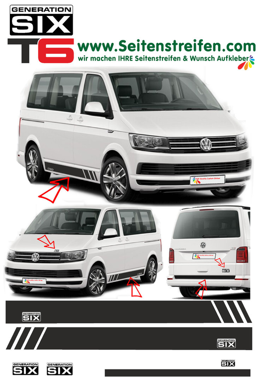 VW T6 Edition Generation Six decalsats, bildekaler fullständig set edition look - N° 5497