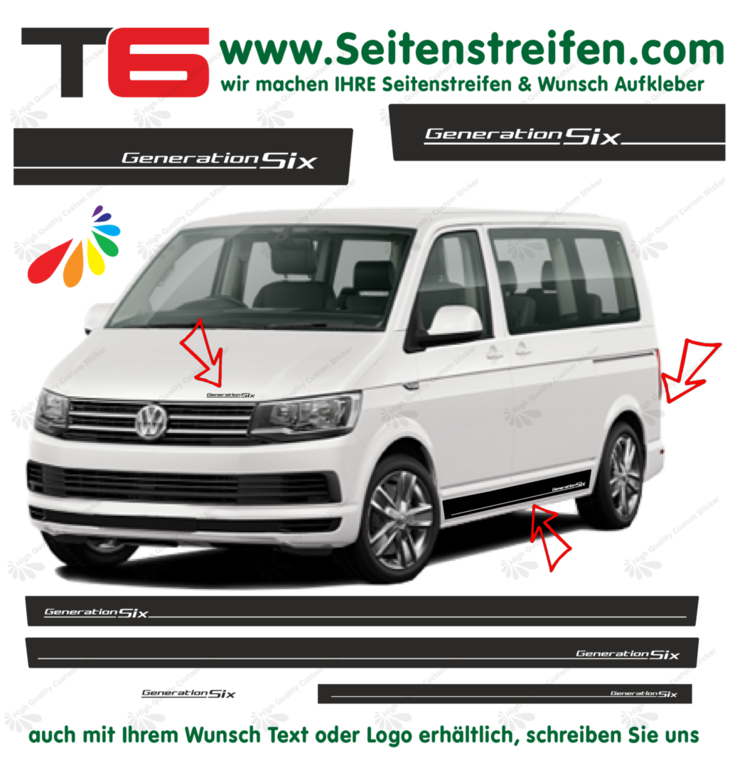 VW T6 Generation Six decalsats, bildekaler fullständig set edition look - N° 5771