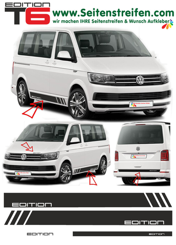 VW T6 Edition California - side stripe sticker decal  complete set edition look - N° 5470