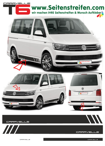 VW T6 Edition CARAVELLE - side stripe sticker decal  complete set edition look - N° 5473