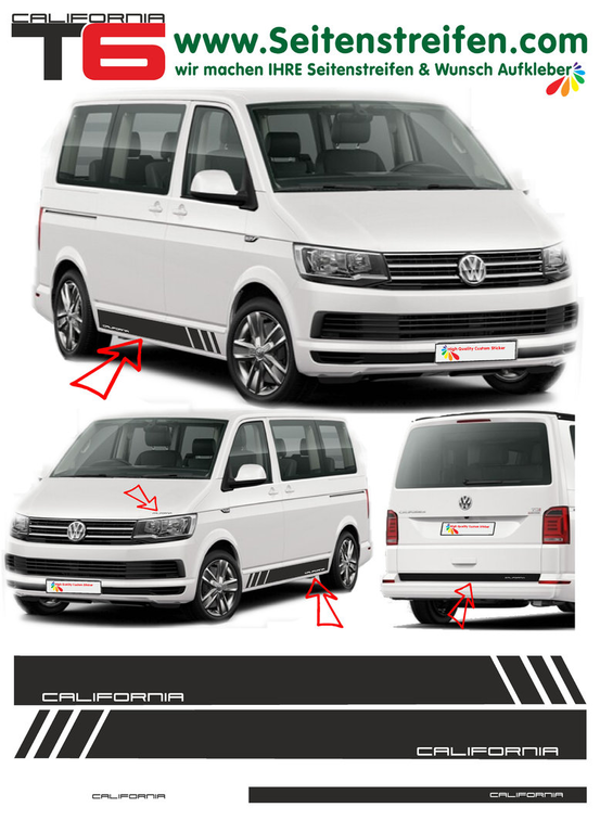 VW T6 California  decalsats, bildekaler fullständig set edition look - N° 5476