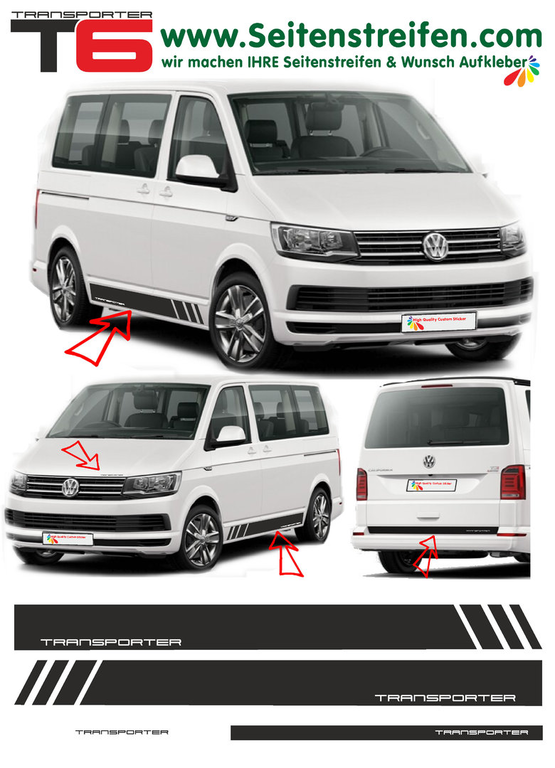 VW T6 Edition TRANSPORTER decalsats, bildekaler fullständig set edition look - N° 5492