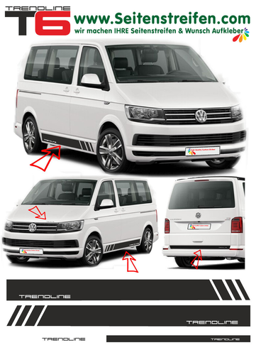 VW T6 Edition TRENDLINE - side stripe sticker decal  complete set edition look - N° 5409