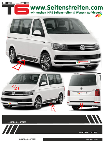 VW T6 Edition HIGHLINE - side stripe sticker decal  complete set edition look - N° 5494