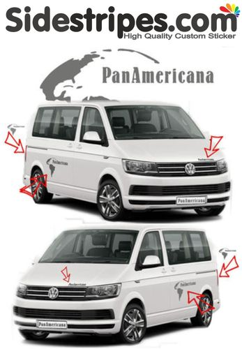VW BUS T6 PanAmericana set de pegatinas laterales set completo Edition look - N° 7783