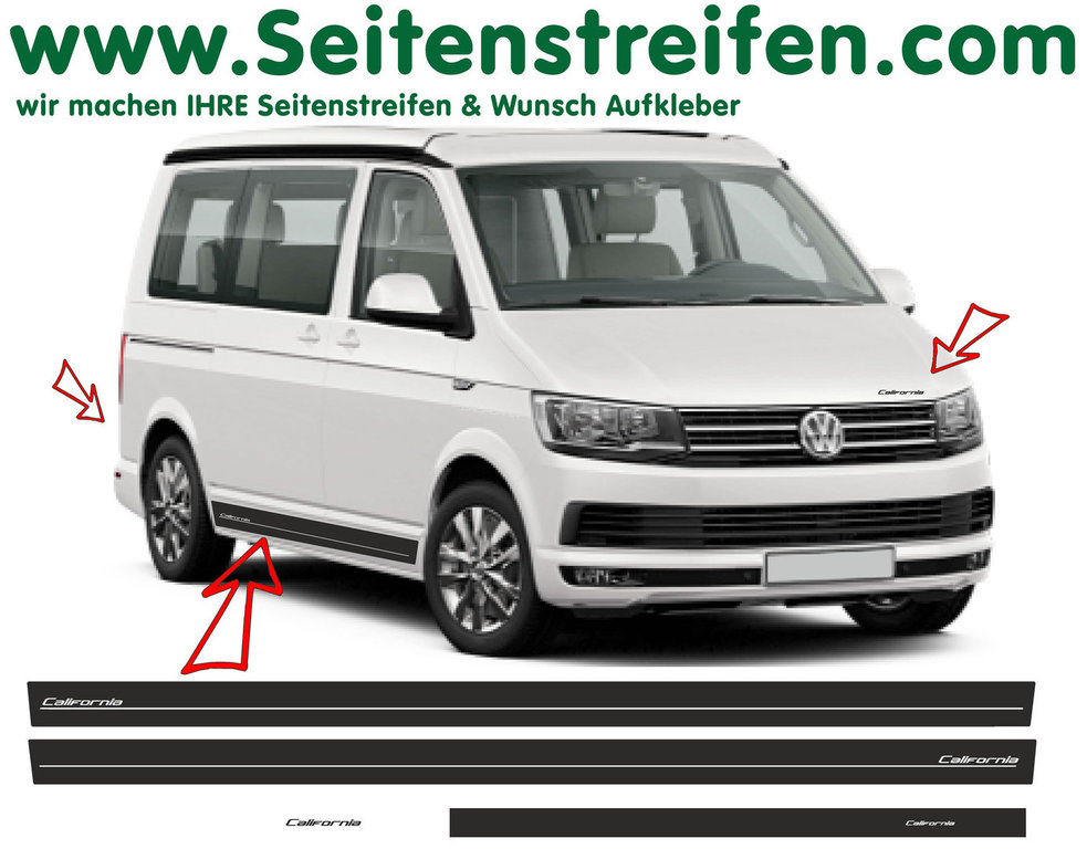 VW BUS T6 California Edition Look Seitenstreifen Aufkleber Dekor Set - Art.Nr.: 6687