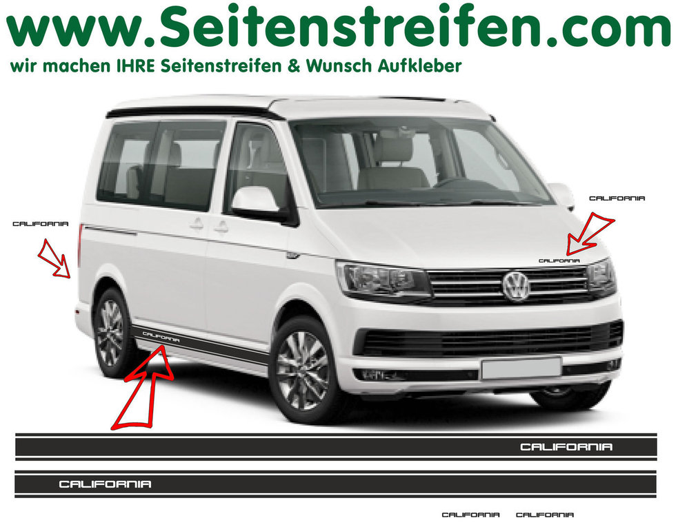 VW BUS T6 California Version N°2 Seitenstreifen Aufkleber Dekor Set - Art.Nr.: 6690