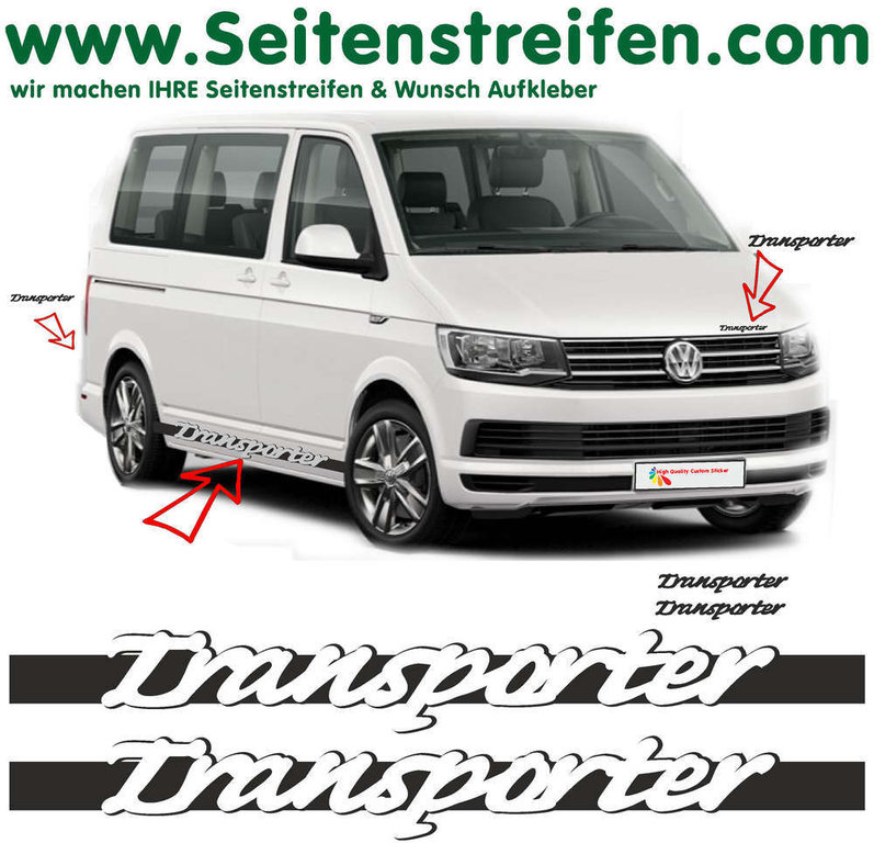 VW T6 Transporter Carrera Look - side stripe sticker decal  complete set edition look - N° 5421