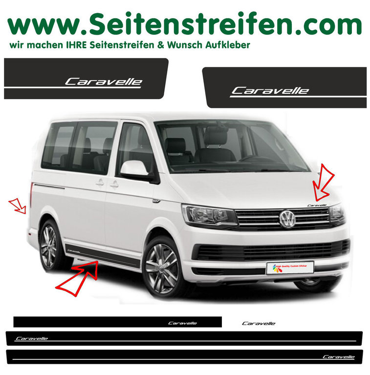 VW T6 Transporter Caravelle Edition - side stripe sticker decal  complete set edition look - N° 5422