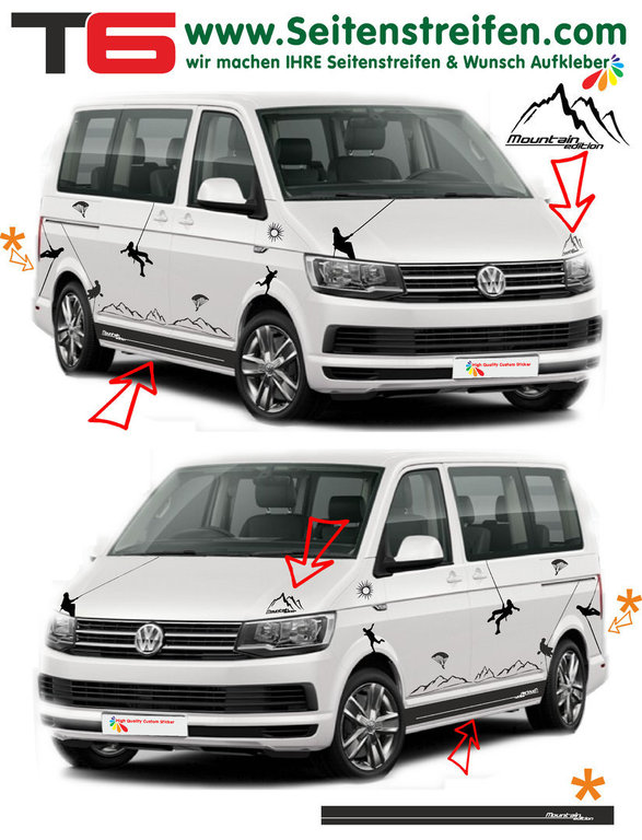 VW Bus T6 - Climber Paraglider Sport Mountain Edition - Graphics Decals Sticker Kit - N° 6925