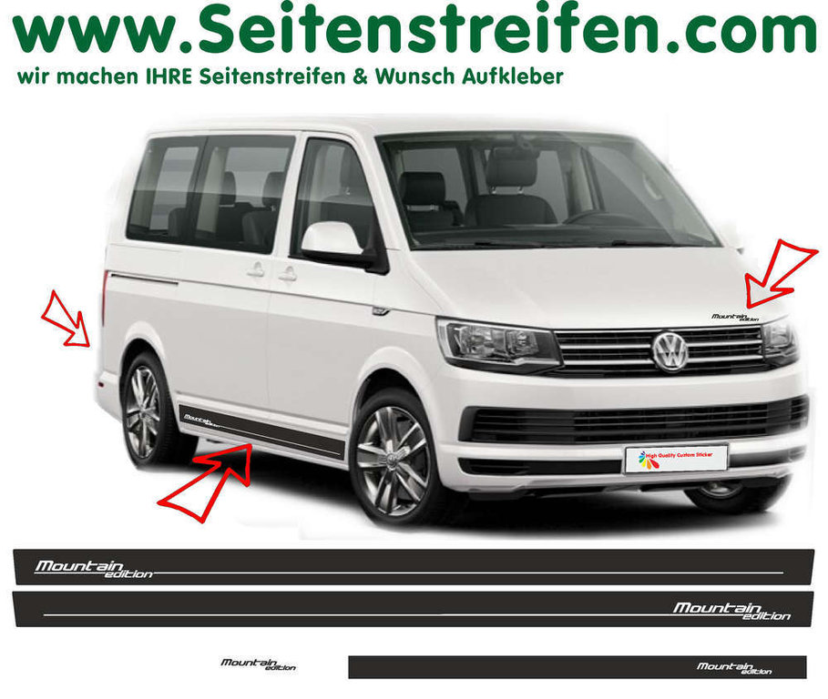 VW BUS T6 Mountain Edition - Side Stripes Graphics Decals Sticker Kit - N° 7840