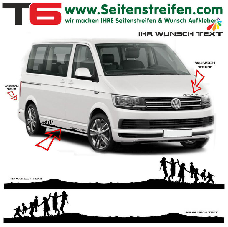 VW BUS T6 - Children Family Your Text - Side Stripes Graphics Decals Sticker Kit - N° 7841