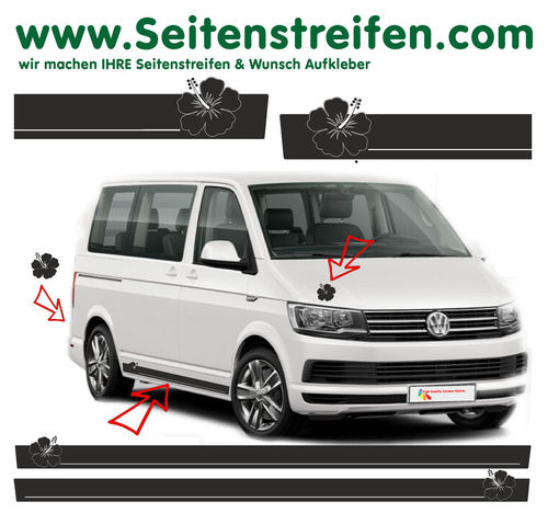 VW T6 Hibiskus Hawaii Beach Surf - decalsats, bildekaler fullständig set - N° 7104