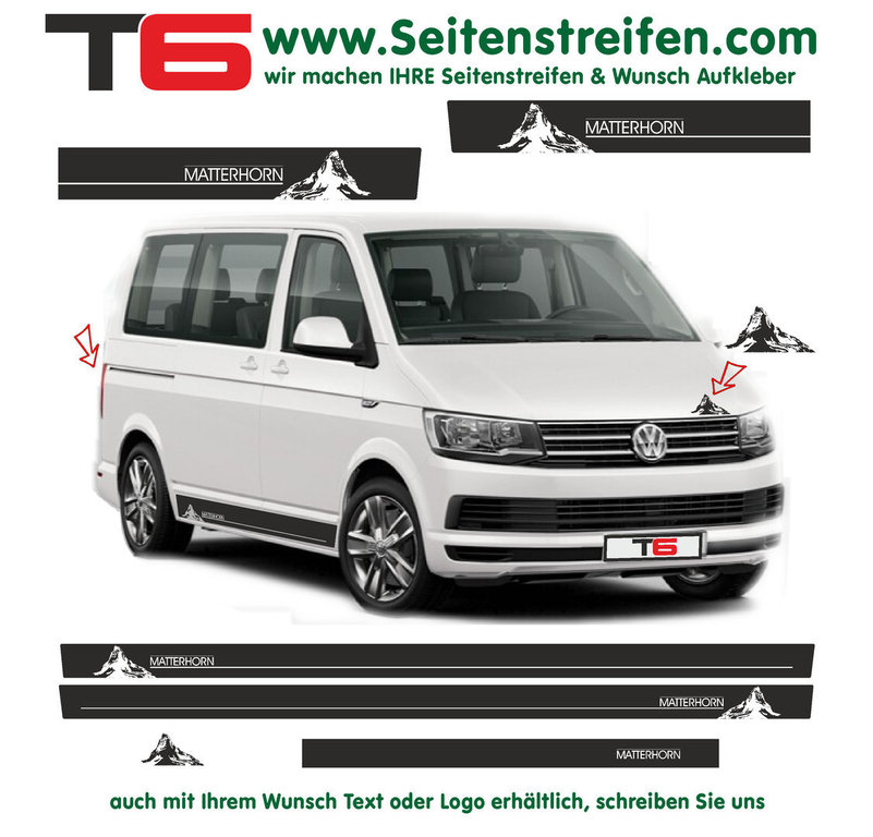 VW BUS T6 - Matterhorn Hiking Mountains - Side Stripes Graphics Decals Sticker Kit - N° 7159