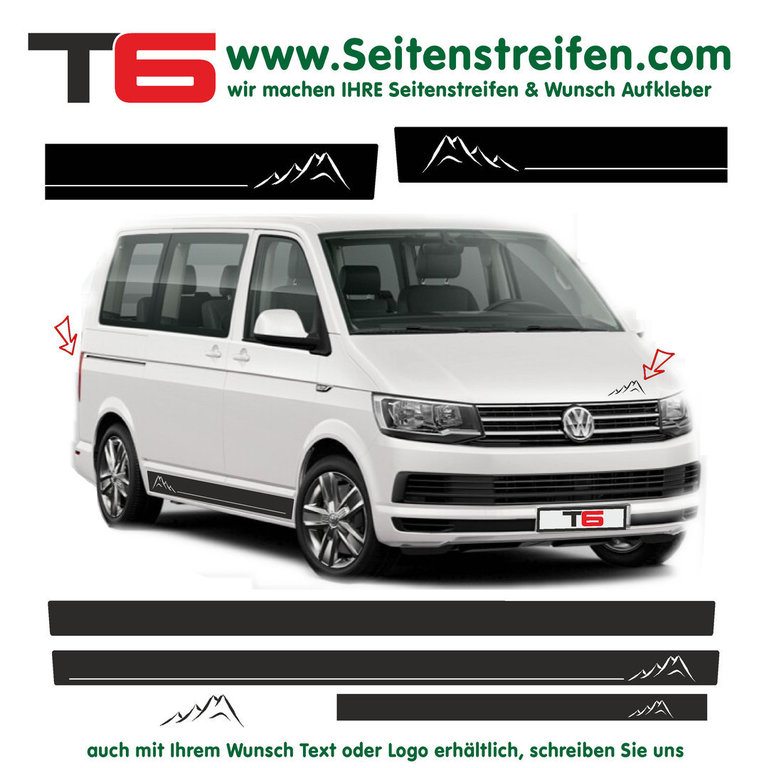 VW BUS T6 - Mountain Motiv Hiking Mountains - Side Stripes Graphics Decals Sticker Kit - N° 7166