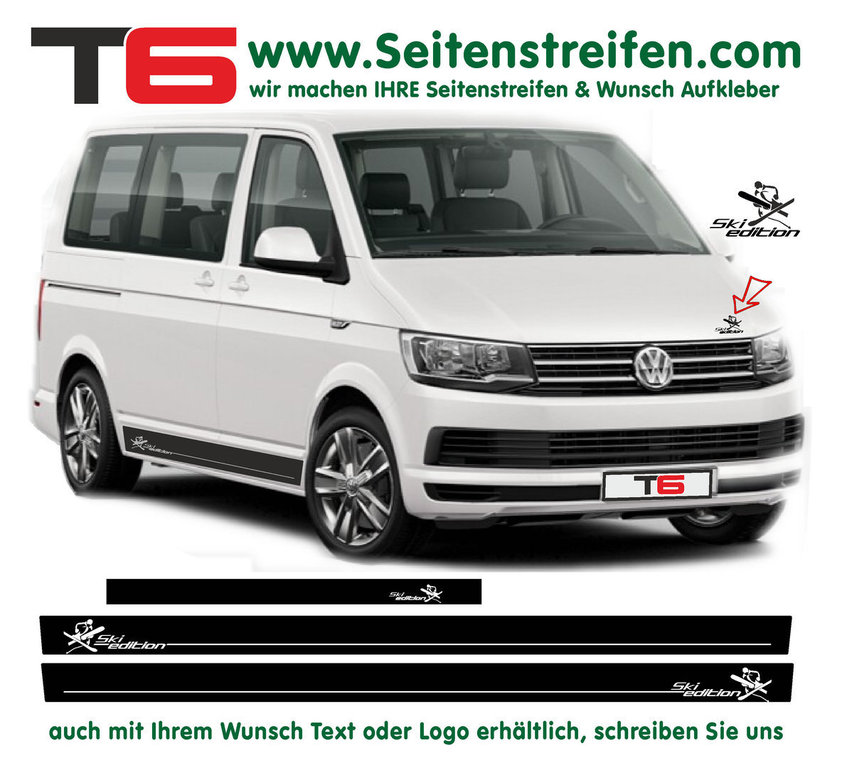 VW BUS T6 - Ski Edition Mountains - Side Stripes Graphics Decals Sticker Kit - N° 7161